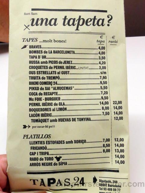 Tapas 24 menu