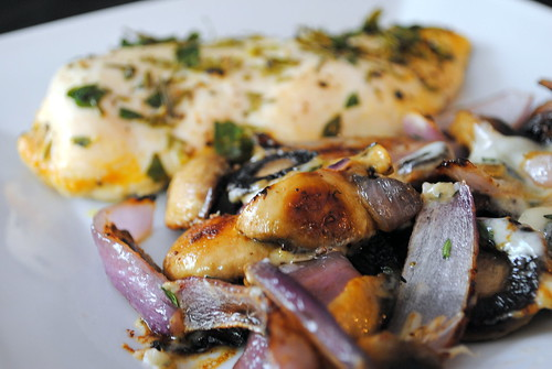 Gorgonzola-Roasted Mushrooms and Onions & Baked Chicken
