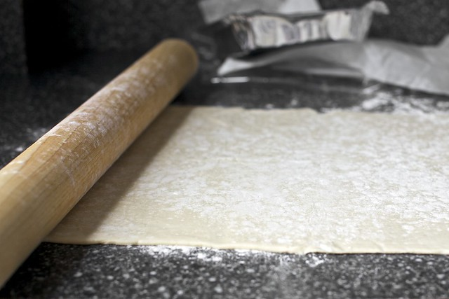 rolling out the puffed pastry