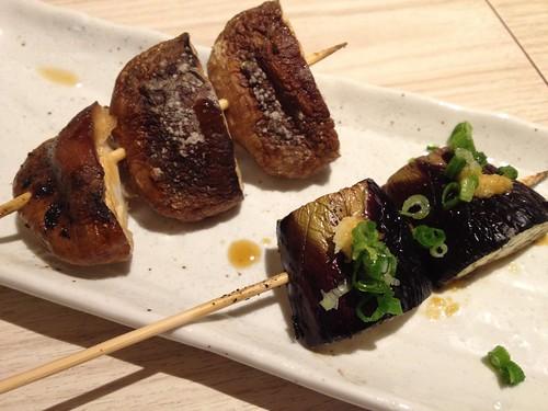野菜串の椎茸とナス@鶏や せぼん