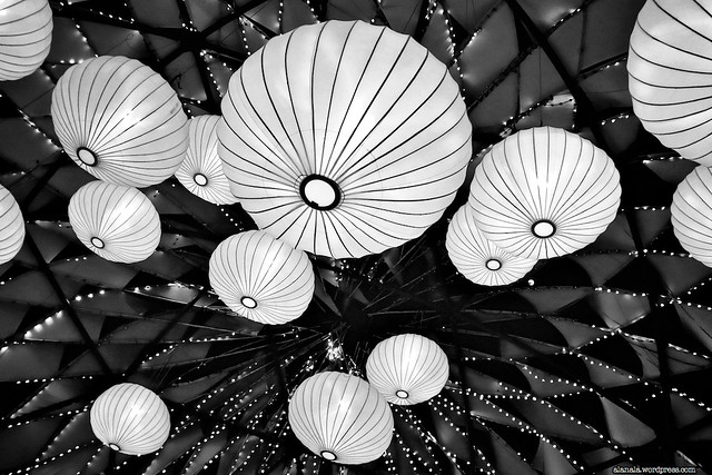 Lanterns inside the Giant Globe Structure
