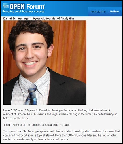 Joel Schlessinger MD's son, Daniel, featured as one of the top four entrepreneurs under 20