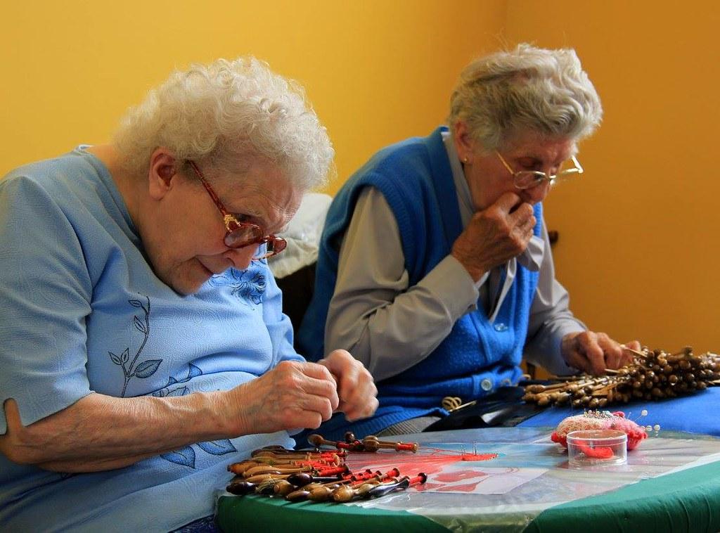 Old women making Brugge lace at Kantcentrum