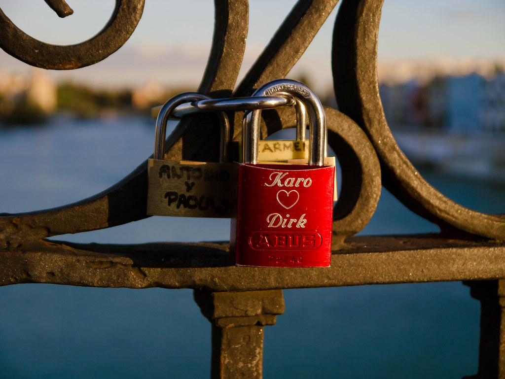 Love locks in Seville