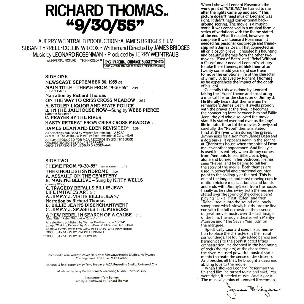 "Leonard Rosenman - Richard Thomas ""9/30/55"""