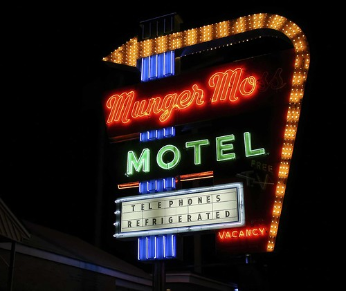 Munger Moss Motel, Missouri, Route 66 neon at night. Copyright Jen Baker/Liberty Images; all rights reserved.