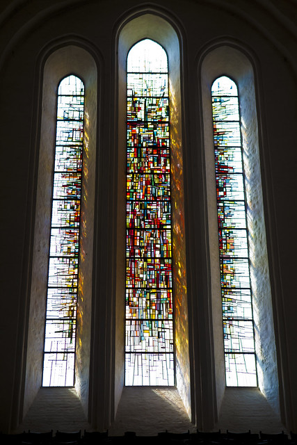 Lubeck, Germany, church, stained-glass window