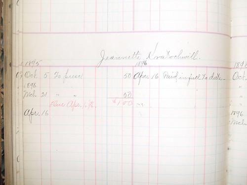 Jeannette Kratochwill billing record, 1895-1896