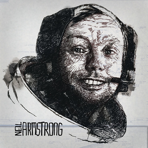 Artwork/Illustration Portrait of Neil Armstrong, American astronaut and the first person to walk on the Moon. Gnorts Mr. Alien!