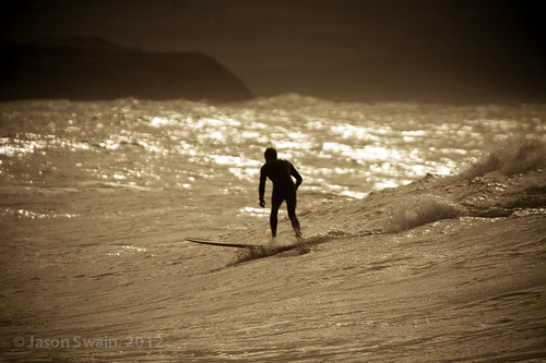 Silhouette Surfer at Freshwater Bay.