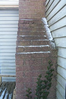 Ivy growing on chimney in winter
