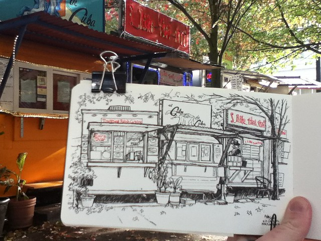 Food Cart sketching in Portland