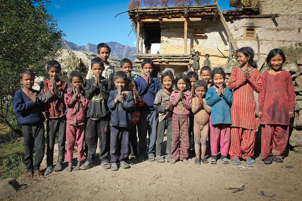 Children run along, when we walk through Rimi-village in Mugu. They keep chanting namaste untill we dissapear in the forrest far away from the village.