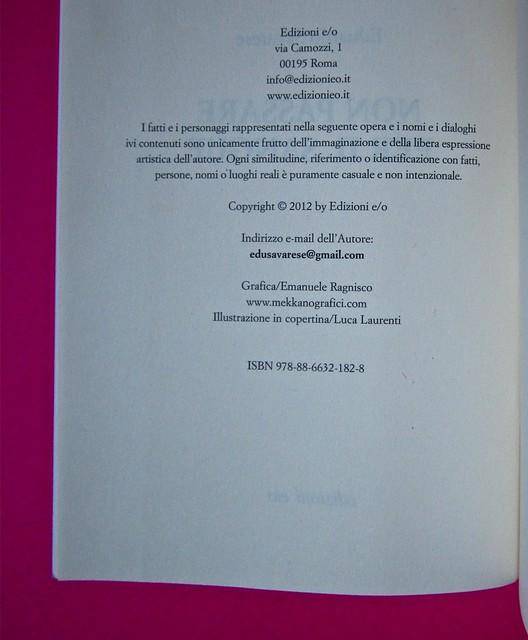 Eduardo Savarese, Non passare per il sangue. edizioni e/o 2012. Grafica di Emanuele Gragnisco; illustrazione di Luca Laurenti. Colophon (part.), 1