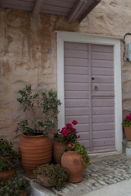 Ano Syros, Syros, Greek island, Venetians, potted plants, Greece, stone houses
