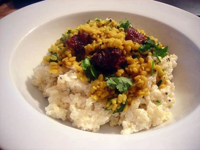 Curd rice, dal, lime pickle