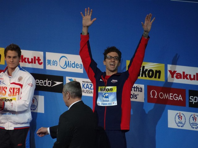 Anthony Ervin on the Istanbul 2012 medal podium