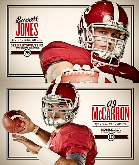 Alabama Awards Candidates: QB AJ McCarron and C Barrett Jones