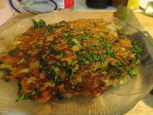 Bok choy and green onion pancake