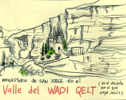 Wedi Qelt valley. Cuaderno de viaje ilustrado. Travel Sketchbook Palestine #11