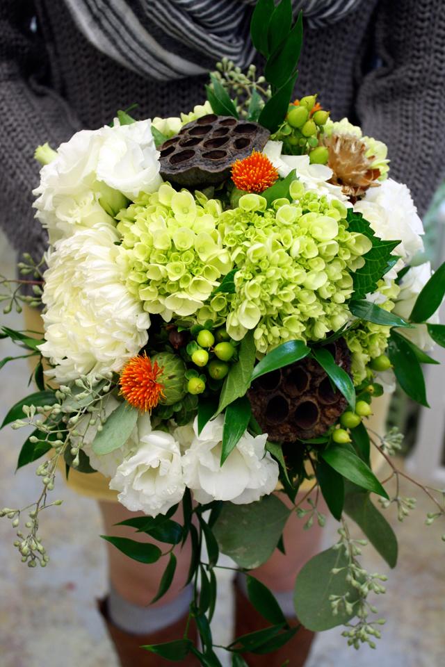 green hydrangea bridal bouquet