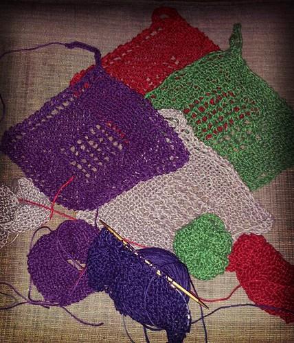 bath sets in progress by The Knitting Mama Bear