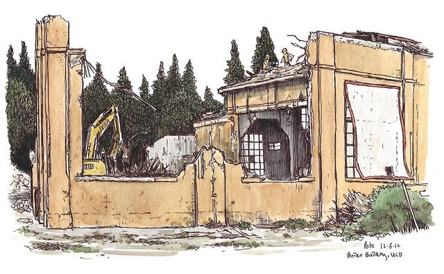 boiler building, coming down