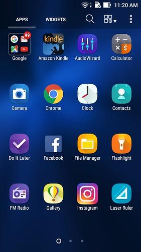 App tray ของ ASUS Zenfone 3 ZE520KL