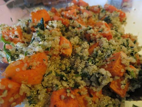 Sweet potato quinoa spinach feta salad