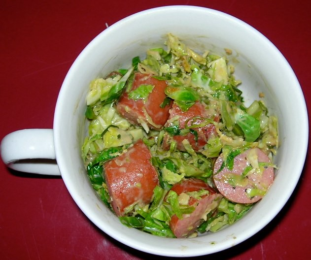 Kielbasa & Brussels Sprouts with Mustard Sauce