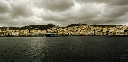 Port of Ermoupolis, Greece, ferry, Ano Syros, medieval town