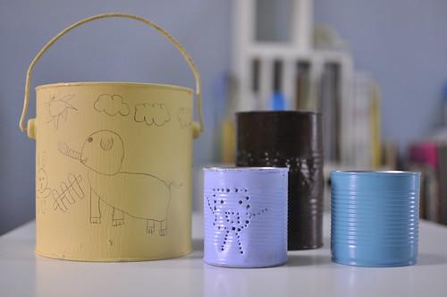 鐵桶、鐵罐大改造:筆筒、燈籠、垃圾桶(8.2ys)
