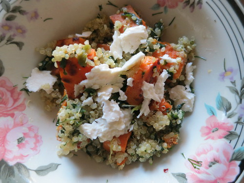 Sweet potato quinoa and feta salad