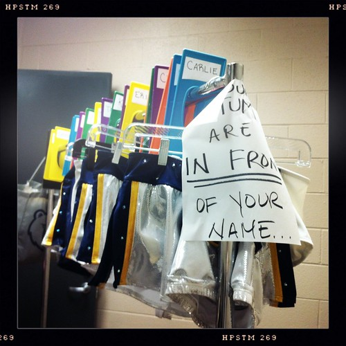 Costumes hanging in the Grizz Girls locker room.