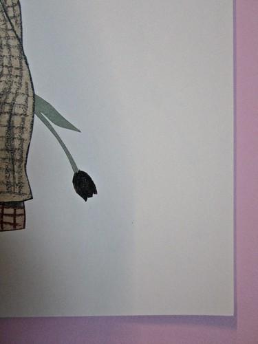 Wolf Erlbruch, L'anatra, la morte e il tulipano. edizioni e/o 2012. Grafica di W. E. e, per l'ed. it.: Emanuele Ragnisco. [pagina 5] (part.), 1