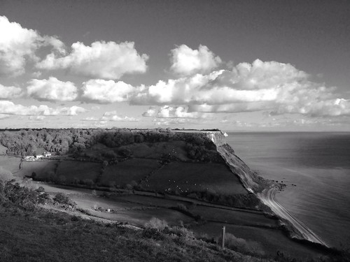 Sunny seascape, Salcombe Regis taken with Hueless