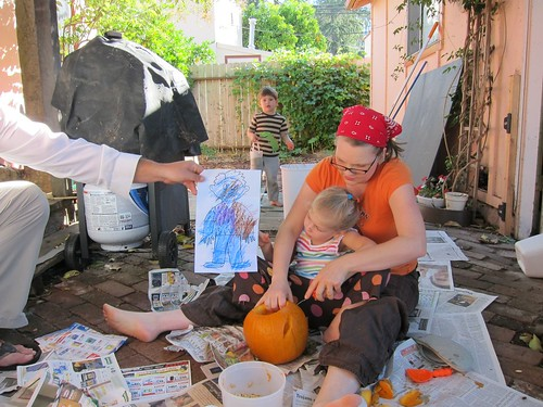 carving pumpkins with flat stanley