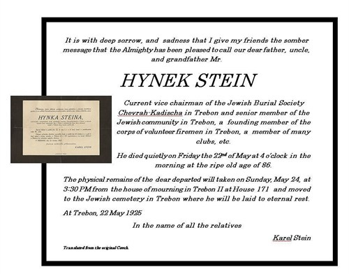 Israel Hynek death certificate