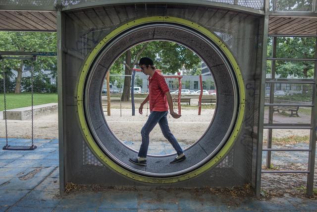 Justin in Hamster Wheel, Berlin, Germany