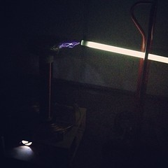 Tesla Coil fun with a fluorescent light bulb at the Eugene Maker Space.