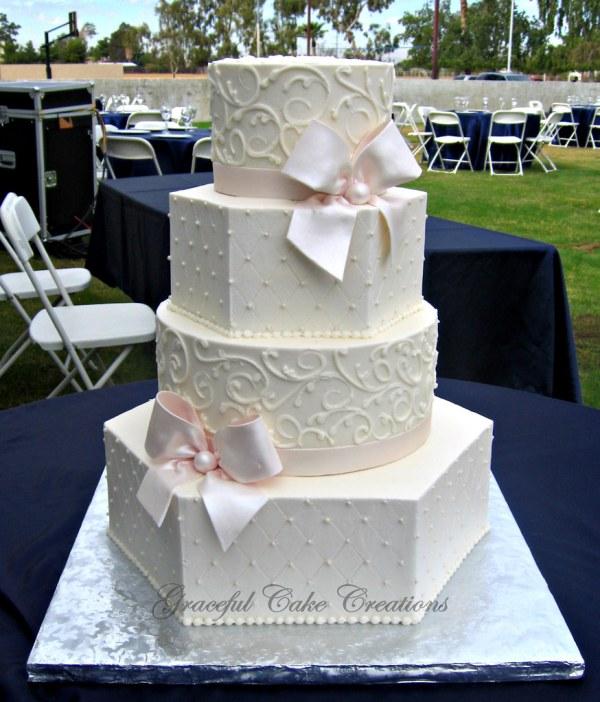 Elegant Ivory Buttercream Hexagon And Wedding Cake