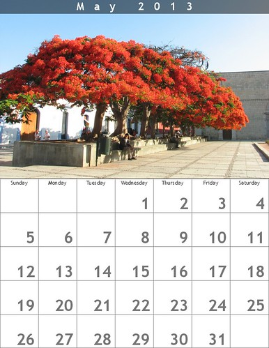 May 2013 Calendar (Oaxaca Trees)