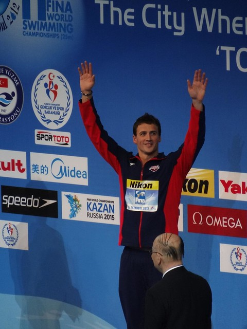 Ryan Lochte on top of the Istanbul 2012 podium