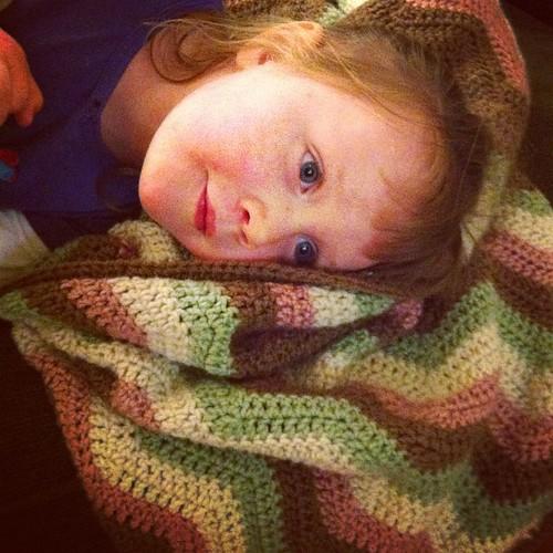 I think she likes it!  #crochet #chevron #ripple #afghan