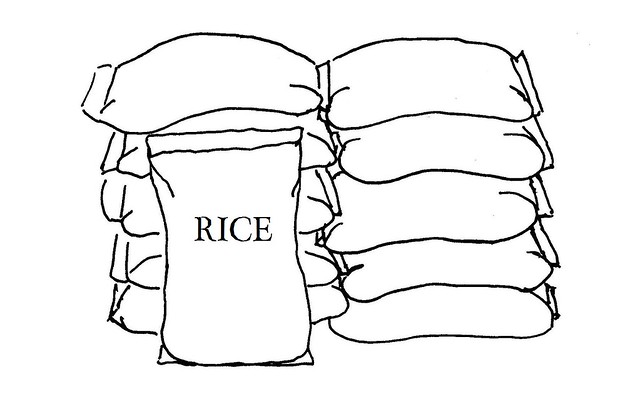 Line drawing illustrating rice as a household expense for
