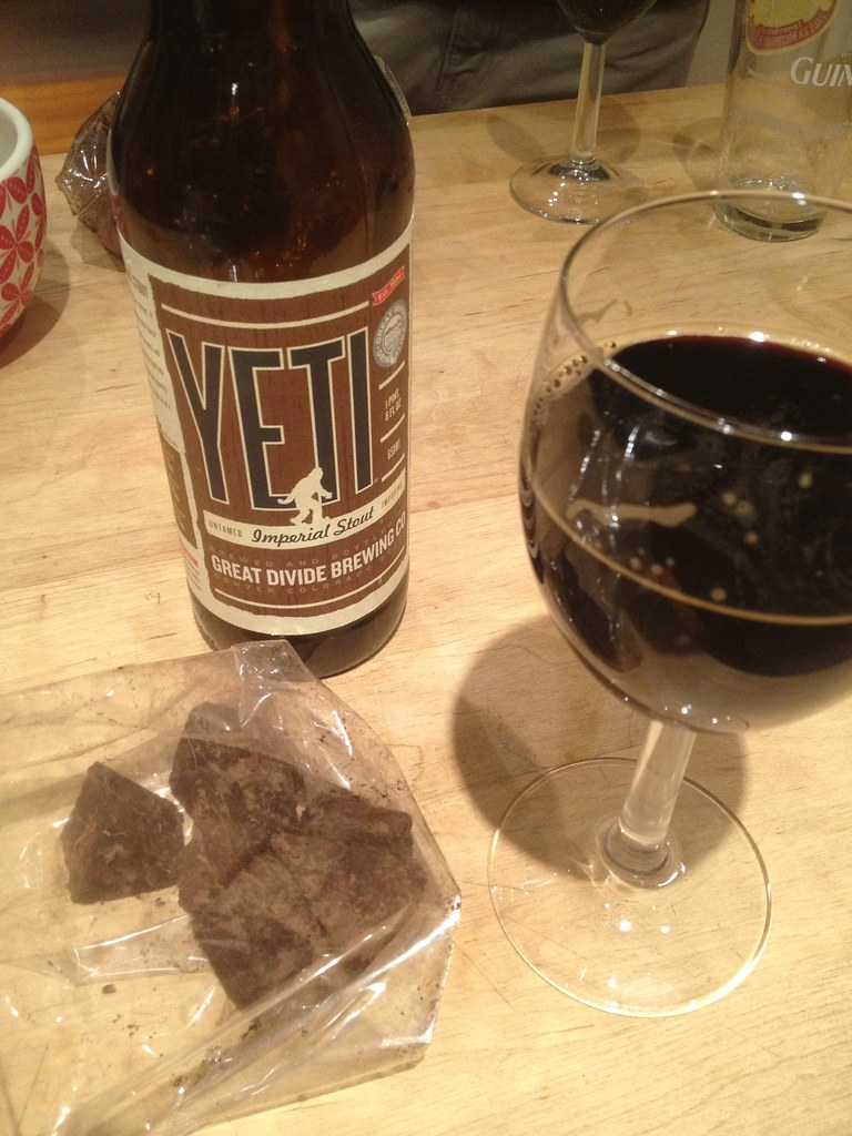 Imperial stout and homemade chocolate truffles. Life sucks
