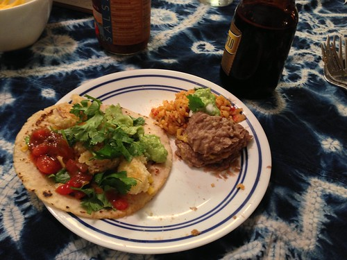 Fish tacos and the best rice and beans ever