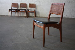 ***SNEAK PEEK*** Intricate Danish Mid Century Modern Caned Back Teak Dining Chairs (Denmark, 1960's)