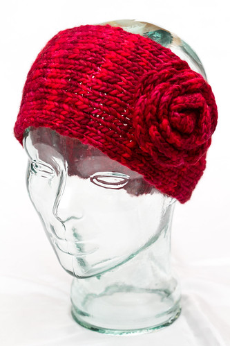 Knit Earwarmer with Crochet Flower