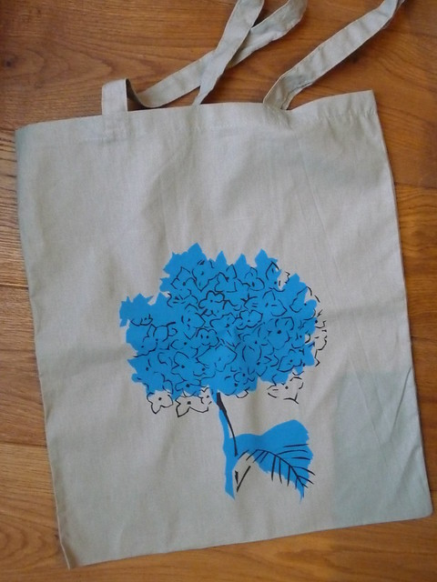 Screen Printed Hydrangea Bag